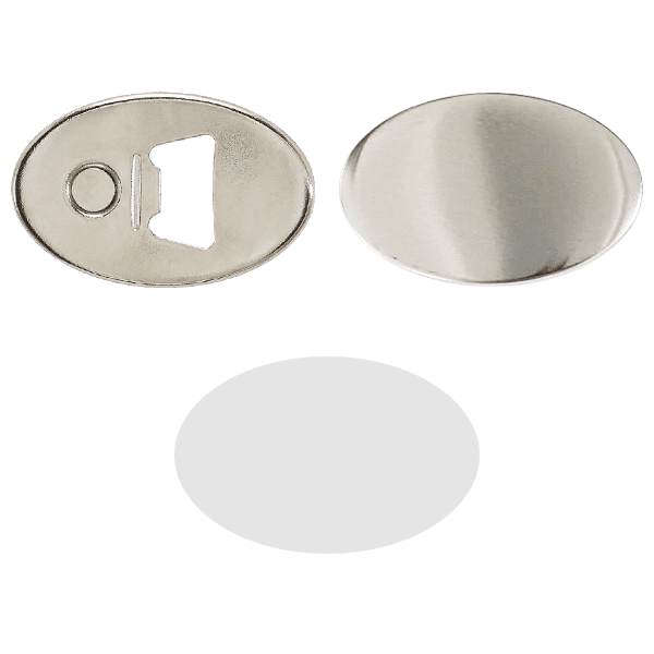 Bottle-opener blank for oval buttons 69mm*45mm
